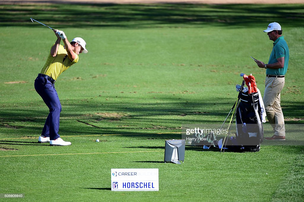 Billy Horschel warms up on the driving range during preview for the CarerrBuilder Challenge In Partnersihip With The Clinton Foundation at the TPC Stadium Course at PGA West on January 20, 2016 in La Quinta, California.