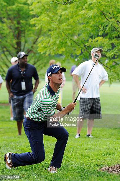 Billy Horschel watches his second shot on the fourth hole during Round One of the ATT National at Congressional Country Club on June 27 2013 in...