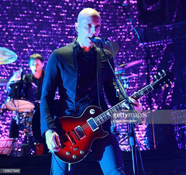 Billy Howerdel of A Perfect Circle performs on stage at the Gibson Amphitheatre at Universal CityWalk on July 28 2011 in Universal City California