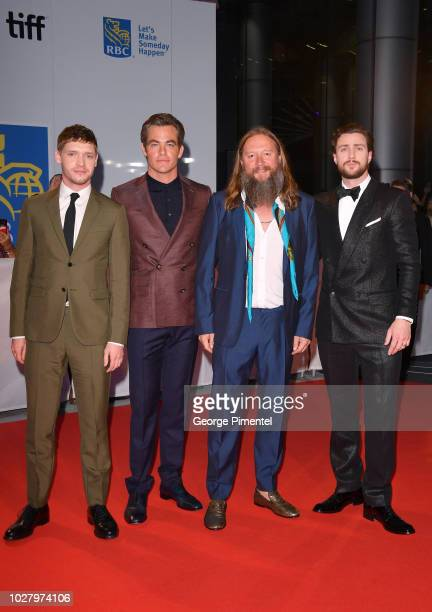 Billy Howle Chris Pine David Mackenzie and Aaron TaylorJohnson attend the Outlaw King premiere during the 2018 Toronto International Film Festival at...