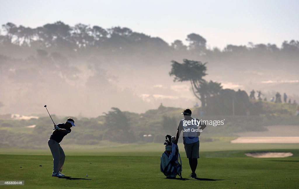 Billy Hurley III hits a shot on the 12th hole during the first round of the AT&T Pebble Beach National Pro-Am at Monterey Peninsula Country Club on February 12, 2015 in Pebble Beach, California.