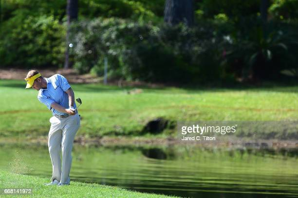 Billy Hurley III plays his fourth shot after hitting his second shot in the water hazard during the first round of the 2017 RBC Heritage at Harbour...