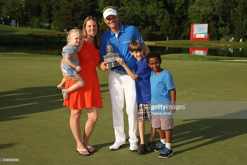 Billy Hurley III poses with wife Heather, and children Will, Jacob, and Madison after winning the Quicken Loans National at Congressional Country Club on June 26, 2016 in Bethesda, Maryland.