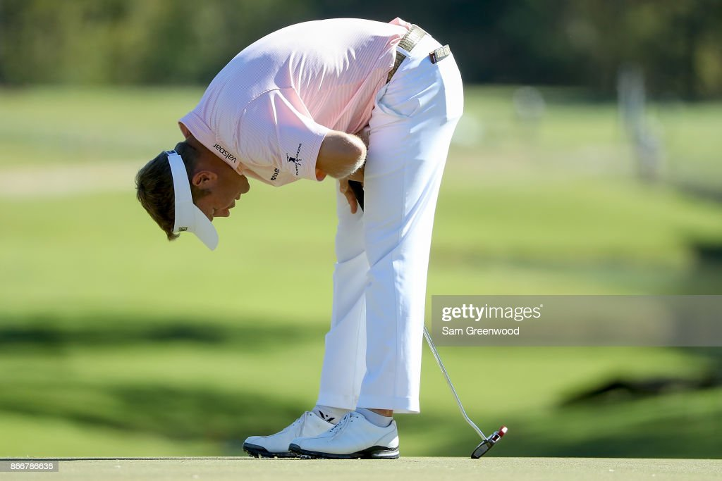 Billy Hurley III reacts to a putt on on the 17th green during the First Round of the Sanderson Farms Championship at the Country Club of Jackson on October 26, 2017 in Jackson, Mississippi.