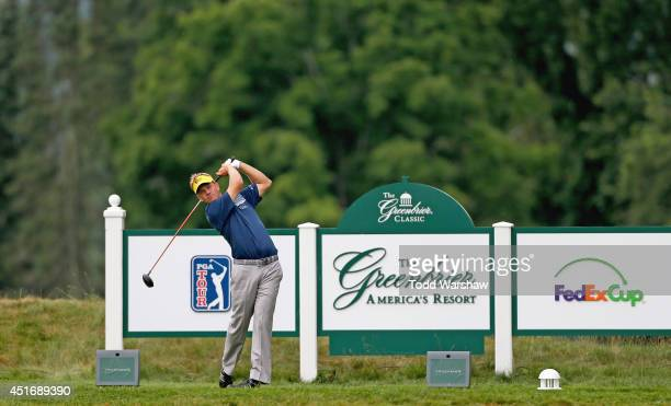 Billy Hurley III tees off on the seventh hole during the second round of the Greenbrier Classic at the Old White TPC on July 4 2014 in White Sulphur...
