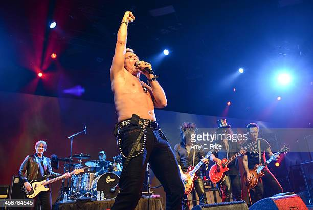 Billy Idol along with Chris Chaney Matt Sorum Steve Stevens Slash and Billy Morrison performs with Camp Freddy at the Austin Convention Center on...