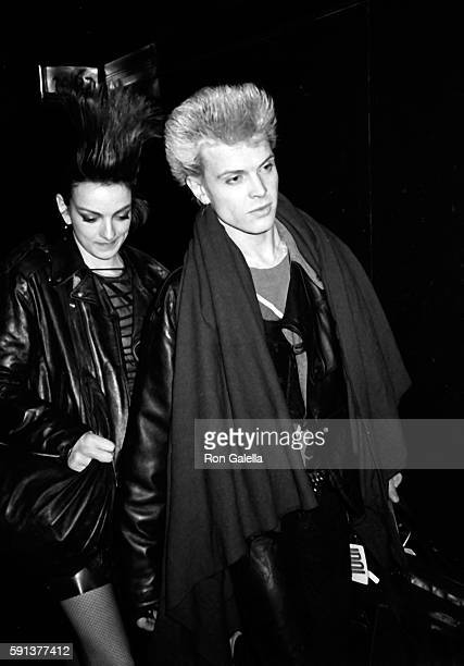 Billy Idol and Perri Lister attend the taping of Saturday Night Live on January 28 1984 at NBC TV Studios in New York City