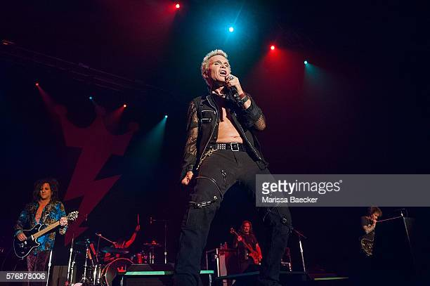 Billy Idol and Steve Stevens perform on stage during the Billy Idol Forever tour on July 14, 2016 at Prospera Place in Kelowna, British Columbia,...