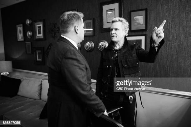 Billy Idol chats in the green room with James Corden during 'The Late Late Show with James Corden' Thursday August 17 2017 On The CBS Television...