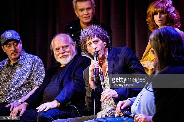 Billy Idol Linda Ramone Monte Melnick Ed Stasium Mickey Leigh Seymour Stein and Scott Goldman speak during Hey Ho Let's Go Celebrating 40 Years of...