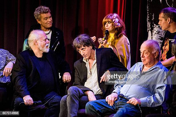 Billy Idol Linda Ramone Shepard Fairey Ed Stasium Mickey Leigh and Seymour Stein speak during Hey Ho Let's Go Celebrating 40 Years of the Ramones at...