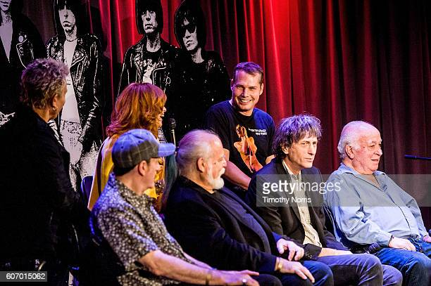 Billy Idol Linda Ramone Shepard Fairey Monte Melnick Ed Stasium Mickey Leigh and Seymour Stein speak during Hey Ho Let's Go Celebrating 40 Years of...