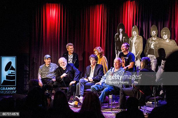Billy Idol Linda Ramone Shepard Fairey Monte Melnick Ed Stasium Mickey Leigh Seymour Stein and Scott Goldman speak during Hey Ho Let's Go Celebrating...