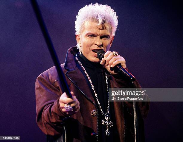 Billy Idol performing on stage at the Wembley Arena in London on the 20th December, 1990.