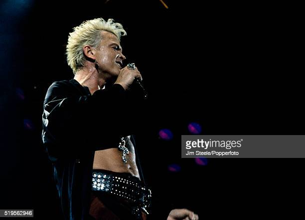 Billy Idol performing on stage at the Wembley Arena in London on the 20th December 1990