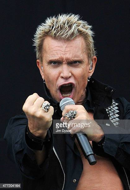 Billy Idol performs live on stage during Day 3 of the Download Festival at Donington Park on June 14 2015 in Castle Donington England