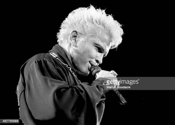 Billy Idol performs on stage at Wembley Arena, London, United Kingdom, December 1990.