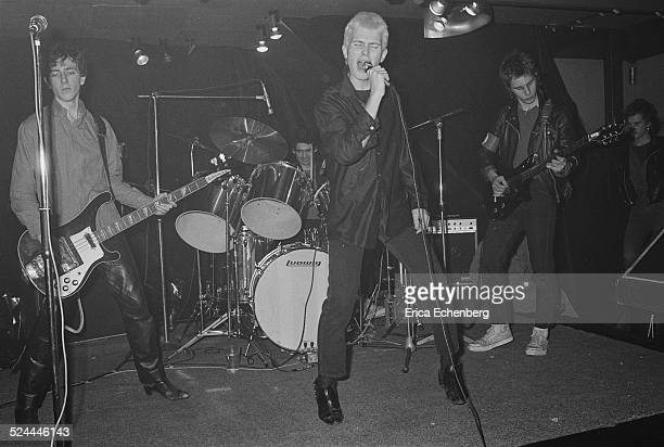 Billy Idol performs on stage with Generation X at Central London College of Art, London, December 10th 1976.