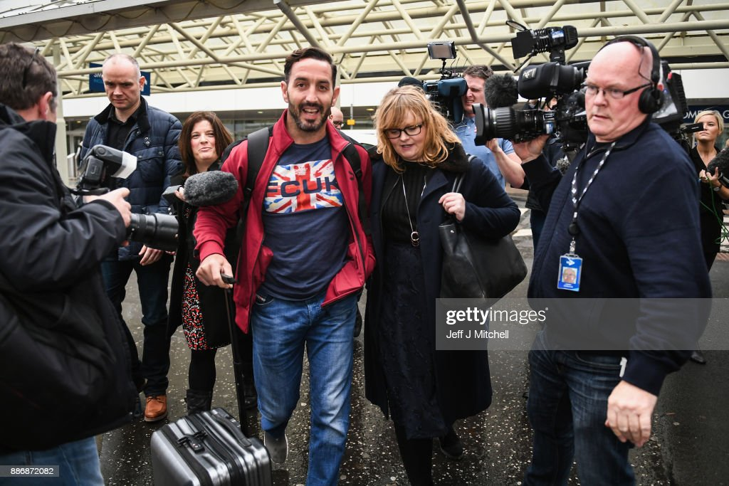 Billy Irving, one of the so called Chennai Six returns home to Glasgow Airport, following winning an appeal against weapons smuggling in India on December 6, 2017 in Glasgow, Scotland. Six former British soldiers are arriving back in the UK, more than four years after they were jailed in India in October 2013 on weapons charges.