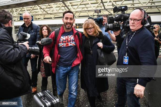 Billy Irving one of the so called Chennai Six returns home to Glasgow Airport following winning an appeal against weapons smuggling in India on...