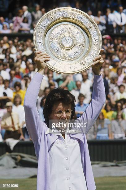 Billy Jean King holds the Wimbeldon women's singles plate after winning another Wimbeldon tennis championship in 1973 in London England Billie Jean...