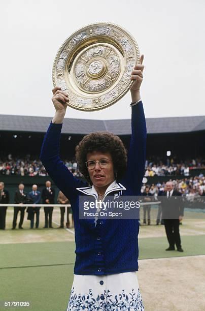 Billy Jean King holds the Wimbeldon women's singles plate after winning another Wimbeldon tennis championship in London England Billie Jean King won...