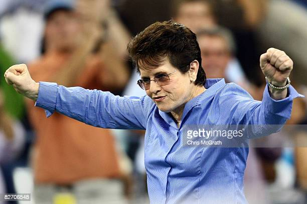 Billy Jean King looks on before the women's singles finals between Serena Williams of the United States and Jelena Jankovic of Serbia during Day 14...