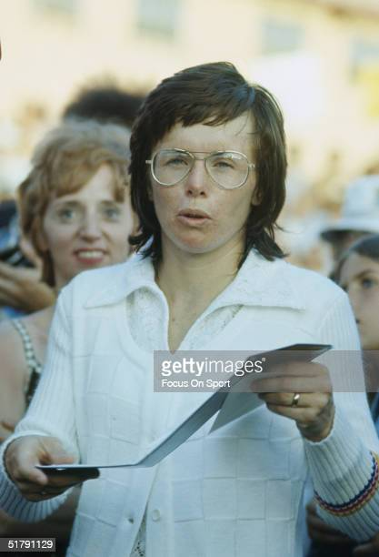 Billy Jean King talks during the Wimbeldon tennis championship in July of 1972 in London, England. Billie Jean King won her first major singles title...