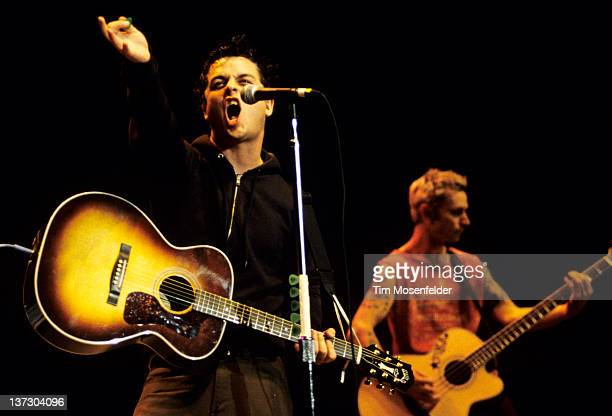Billy Joe Armstrong of Green Day performs as part of the Bridge School Benefit at Shoreline Amphitheatre on October 31 1999 in Mountain View...