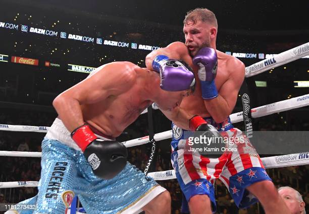 Billy Joe Saunders and Marceleo Coceres exchange punches during their WBO World SuperMiddleweight Championship fight at Staples Center on November 9...