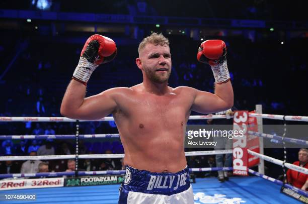 Billy Joe Saunders celebrates after victory over Charles Adamu in the International SuperMiddleweight Contest at Manchester Arena on November 22 2018...