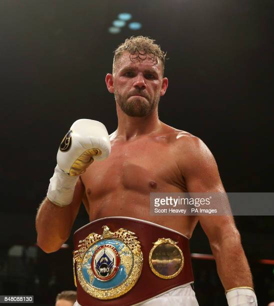 Billy Joe Saunders celebrates beating Willie Monroe Jnr in the WBO World Middleweight Championship bout at the Copper Box Arena London