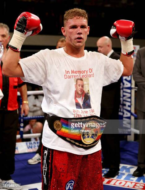 Billy Joe Saunders celebrates his victory over Jarrod Fletcher during the Commonwealth Middleweight Championship bout between Billy Joe Saunders of...