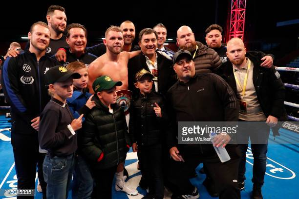 Billy Joe Saunders celebrats the win over Shefat Isufi during the WBO WORLD SUPERMIDDLEWEIGHT CHAMPIONSHIP at The Lamex Stadium on May 18 2019 in...