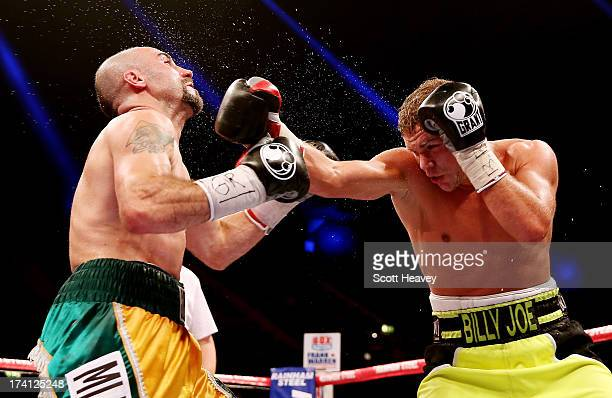 Billy Joe Saunders connects with Gary O'Sullivan during their WBO International Middleweight Championship bout at Wembley Arena on July 20 2013 in...