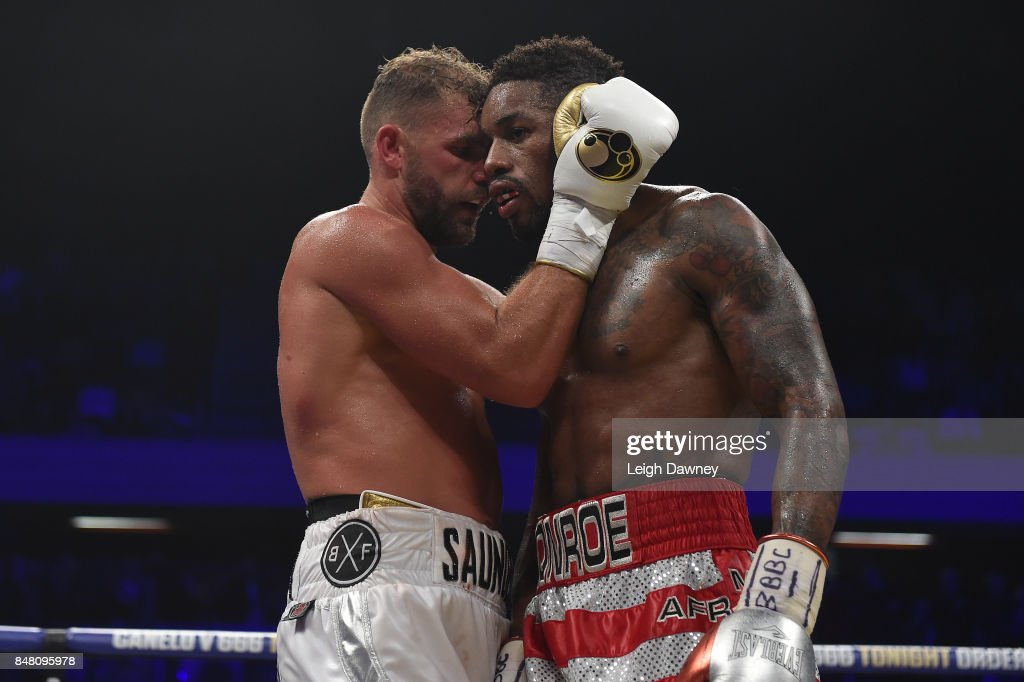 Billy Joe Saunders embraces Willie Munroe Jr after the WBO World Middleweight Title fight at Copper Box Arena on September 16, 2017 in London, England.