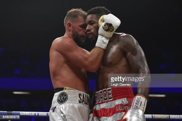 Billy Joe Saunders embraces Willie Munroe Jr after the WBO World Middleweight Title fight at Copper Box Arena on September 16 2017 in London England
