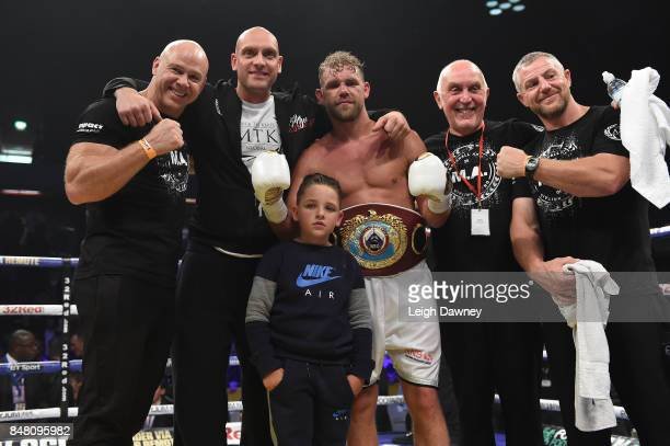 Billy Joe Saunders his son and team celebrate defeating Willie Munroe Jr for the WBO World Middleweight Title fight at Copper Box Arena on September...