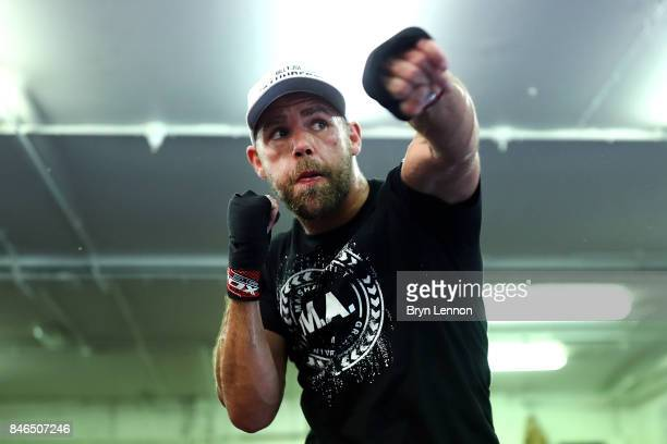 Billy Joe Saunders in action during a media work out at the Peacock Gym on September 13 2017 in London England