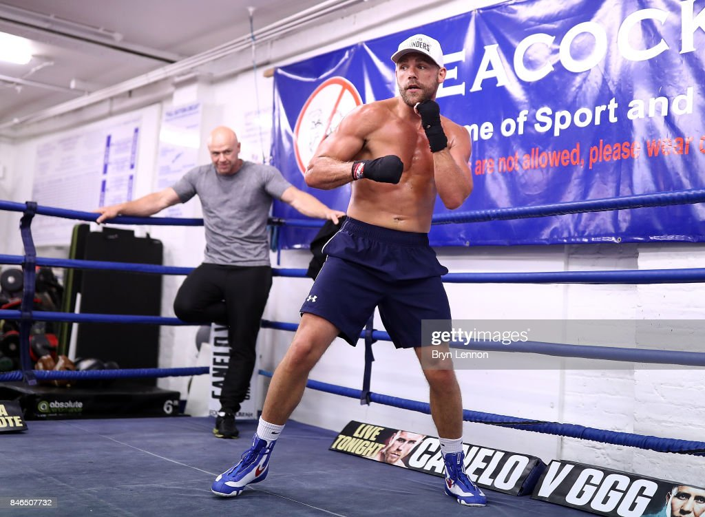 Billy Joe Saunders in action during a media work out at the Peacock Gym on September 13, 2017 in London, England.