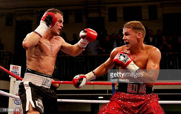 Billy Joe Saunders in action with Jarrod Fletcher during the Commonwealth Middleweight Championship bout between Billy Joe Saunders of England and...