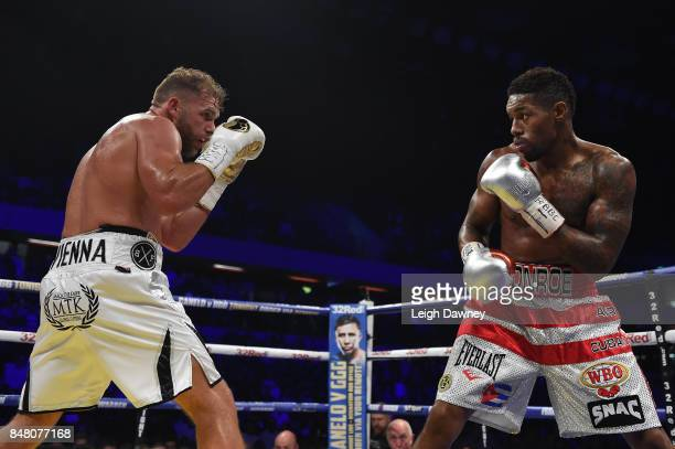 Billy Joe Saunders in boxing action with Willie Munroe Jr during the WBO World Middleweight Title fight at Copper Box Arena on September 16 2017 in...