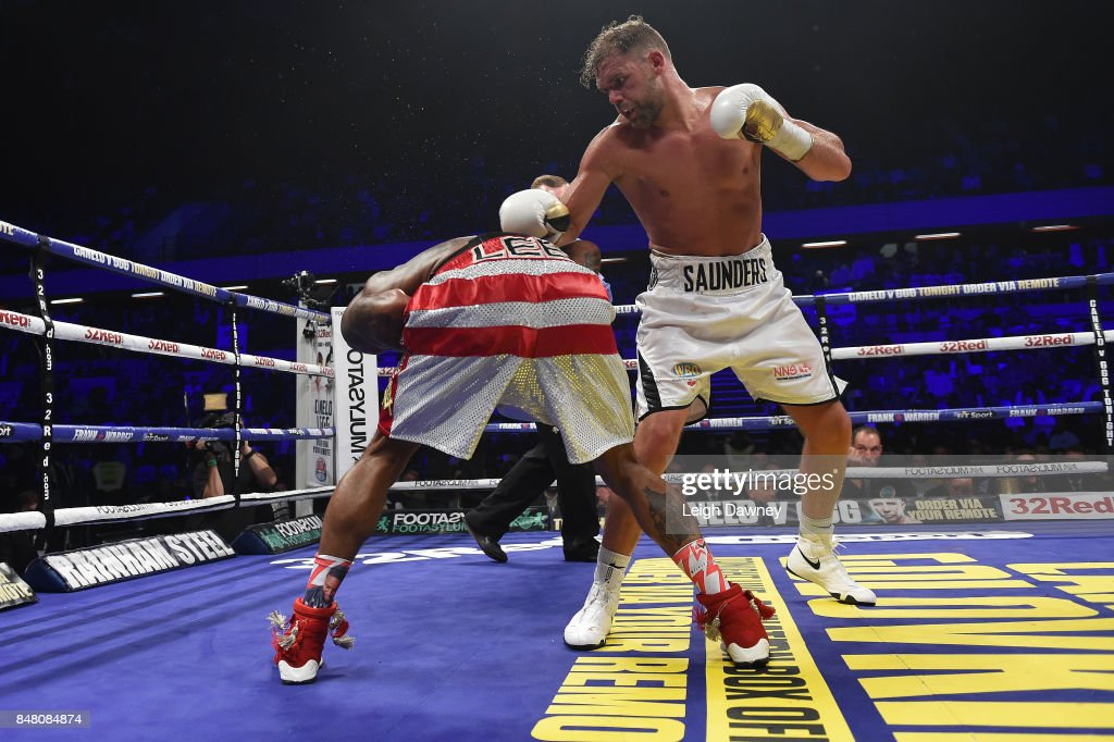 Billy Joe Saunders in boxing action with Willie Munroe Jr during the WBO World Middleweight Title fight at Copper Box Arena on September 16, 2017 in London, England.