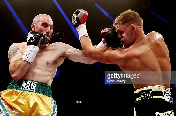 Billy Joe Saunders is caught by Gary O'Sullivan during their WBO International Middleweight Championship bout at Wembley Arena on July 20 2013 in...