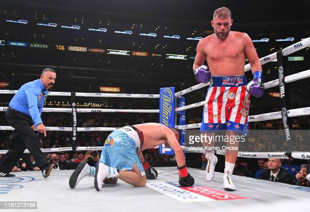 Billy Joe Saunders knocks down Marceleo Coceres during their WBO World SuperMiddleweight Championship fight at Staples Center on November 9 2019 in...