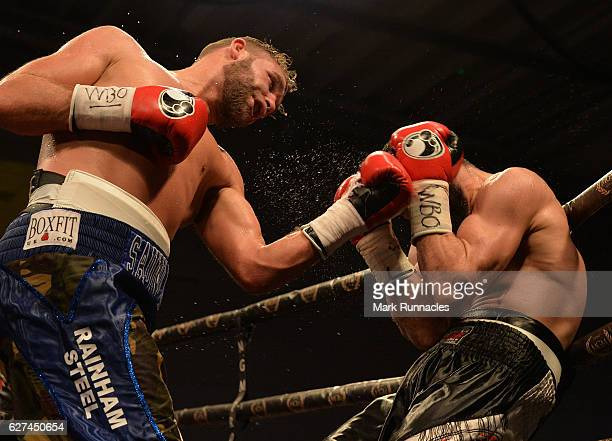 Billy Joe Saunders of England takes on Artur Akavov of Russia during the defence of his WBO Middleweight title at the Paisley Lagoon Centre on...