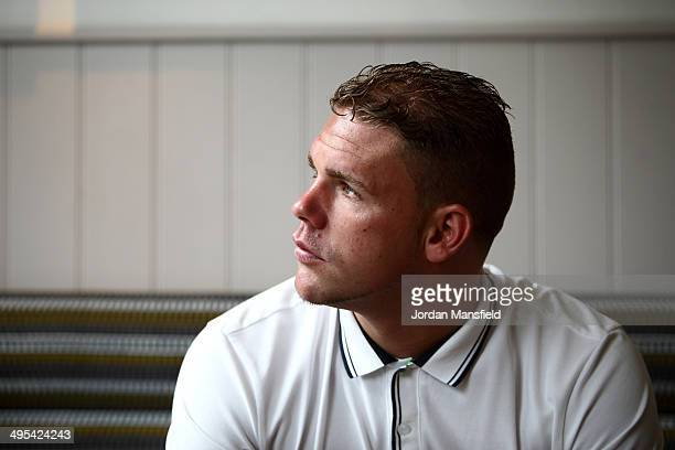 Billy Joe Saunders poses for a photo after the press conference to discuss two separate upcoming fights featuring Billy Joe Saunders and Chris Eubank...