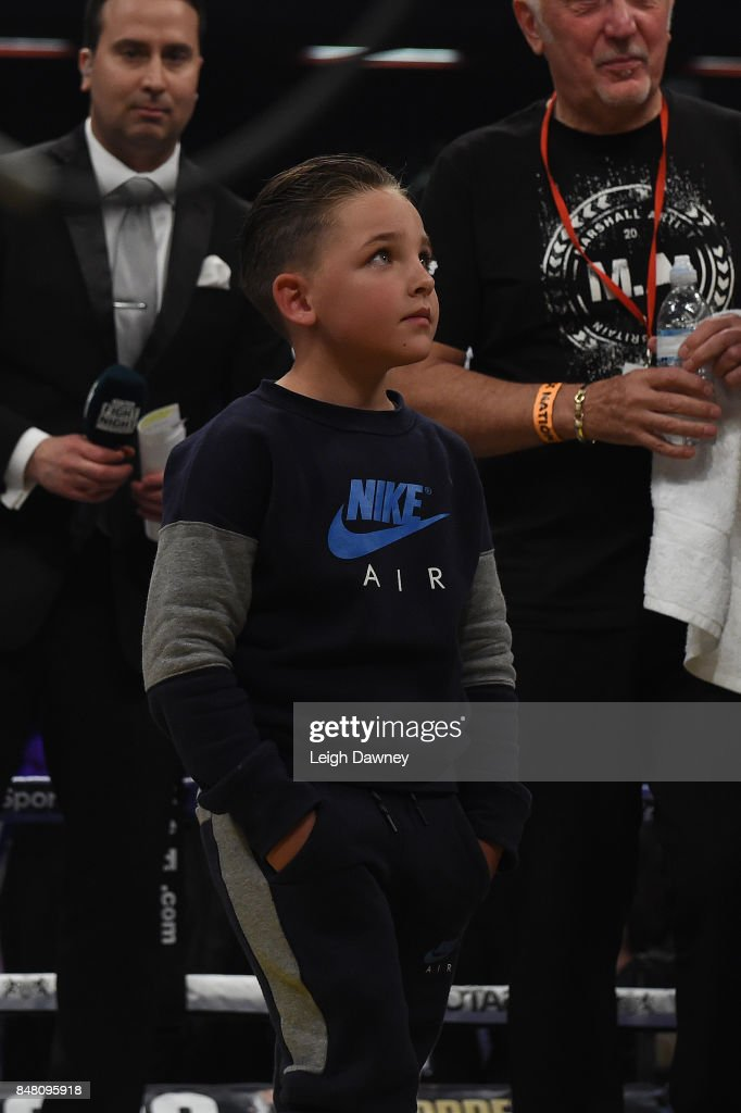 Billy Joe Saunders son, Stevie in the ring after Saunders defeated Willie Munroe Jr during the WBO World Middleweight Title fight at Copper Box Arena on September 16, 2017 in London, England.