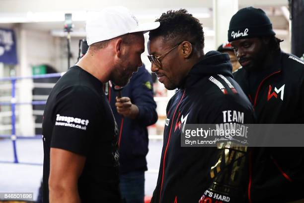 Billy Joe Saunders squares up to Willie Monroe Jr during a media work out at the Peacock Gym on September 13 2017 in London England
