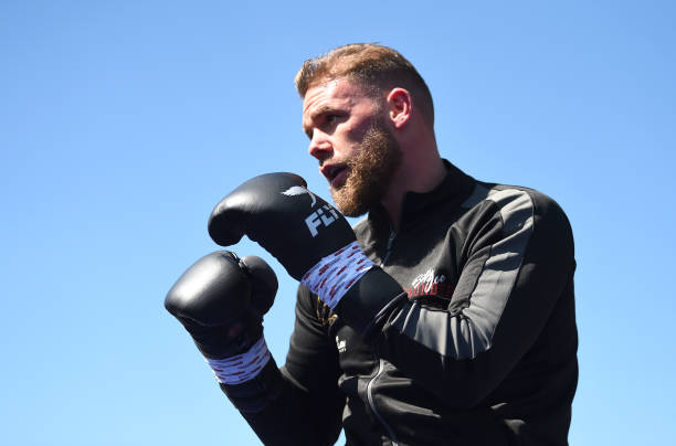Billy Joe Saunders takes part in a workout session at The Lamex Stadium on May 04, 2019 in Stevenage, England.